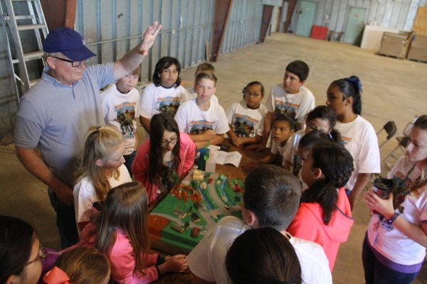 """District Compliance Coordinator Casey Tice leads students in the """"We All Live Downstream"""" activity at the 2017 """"Save the Planet's Water Festival"""" in Dalhart. Over 800 area 4th graders participated in the children's water festivals that took place in Dalhart, Dumas and Perryton on three consecutive days. """"We All Live Downstrem"""" teaches students about pollution and how we can all have an effect on the quality of our water."""