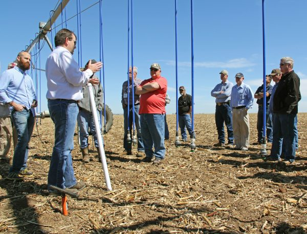 David Sloane, AquaSpy, demonstrates the finer points of installation of a soil moisture probe for the 2016 Master Irrigator class.
